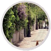 Cat On Cobblestone Round Beach Towel