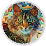 Cat On Colors Round Beach Towel