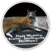 Round Beach Towel featuring the photograph Cat On Dull Women Mat by Sally Weigand