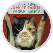 Cat On Strike Round Beach Towel by Leah Saulnier The Painting Maniac