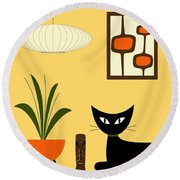 Cat On Tabletop With Mini Mod Pods 3 Round Beach Towel
