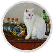 Cat On The Liquor Cabinet Round Beach Towel by John Kolenberg