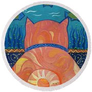 Cat Tales Round Beach Towel