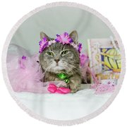 Cat Tea Party Round Beach Towel