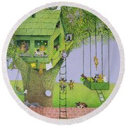 Cat Tree House Round Beach Towel