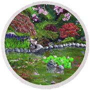 Cat Turtle And Water Lilies Round Beach Towel