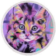 Cat Wild Thing Round Beach Towel