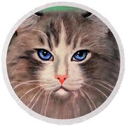 Cat With Blue Eyes Round Beach Towel