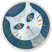 Cat With Kaleidoscope Eyes Round Beach Towel