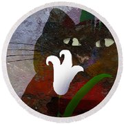 Cat With Lily Round Beach Towel