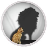 Cat With Lion Shadow Round Beach Towel