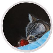Cat With Red Yarn Round Beach Towel