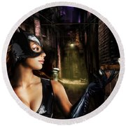Cat Woman Round Beach Towel