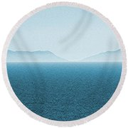 Catalina Island Large Panoramic Color Fine Art Print On Metal Round Beach Towel by Ben and Raisa Gertsberg