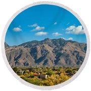 Round Beach Towel featuring the photograph Catalina Mountain Panorama by Dan McManus
