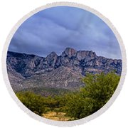 Round Beach Towel featuring the photograph Catalina Mountains P1 by Mark Myhaver
