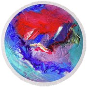Round Beach Towel featuring the painting Catalyst by Dominic Piperata