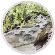 Catawba Falls - A Watercolor Sketch Round Beach Towel
