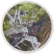 Round Beach Towel featuring the painting Catawba Falls - Working Notes by Joel Deutsch