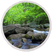 Round Beach Towel featuring the photograph Catawba Stream And Rocks Panorama by Ranjay Mitra
