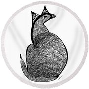 Catbird Abstract Rd101 Round Beach Towel
