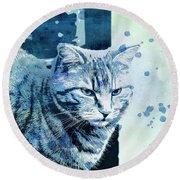 Round Beach Towel featuring the digital art Catbird Seat by Jutta Maria Pusl