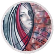 Round Beach Towel featuring the painting Catch Me If You Can 080908 by Selena Boron