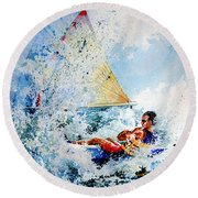 Round Beach Towel featuring the painting Catch The Wind by Hanne Lore Koehler
