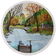 Round Beach Towel featuring the painting Catching Breakfast by Jack G Brauer
