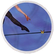 Round Beach Towel featuring the painting Catching Butterflies by Steve Karol