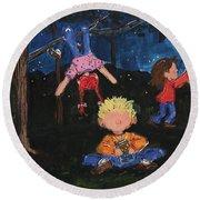 Catching Fireflies Round Beach Towel by Terri Einer