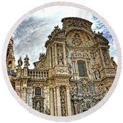 Catedral De Murcia Round Beach Towel by Angel Jesus De la Fuente