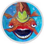 Round Beach Towel featuring the painting Catfish Clyde by Vickie Scarlett-Fisher