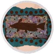 Catfish Silhouette Round Beach Towel