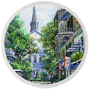 Cathedral At Orleans Round Beach Towel
