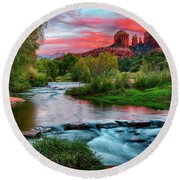 Cathedral At Sunset Round Beach Towel