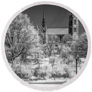 Round Beach Towel featuring the photograph Cathedral Basilica Of The Sacred Heart Ir by Susan Candelario