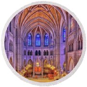 Round Beach Towel featuring the photograph Cathedral Basilica Of The Sacred Heart Newark Nj II by Susan Candelario