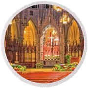 Round Beach Towel featuring the photograph Cathedral Basilica Of The Sacred Heart Newark Nj by Susan Candelario