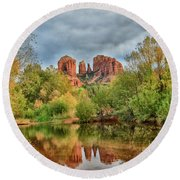 Cathedral Entrances Us Round Beach Towel