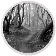 Cathedral Hills Serenity In Black And White Round Beach Towel