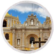 Cathedral In Antigua, Guatemala Round Beach Towel
