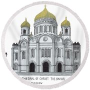 Cathedral  Of Christ The Savior - Moscow Round Beach Towel