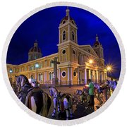 Cathedral Of Granada Shines Brightly Round Beach Towel