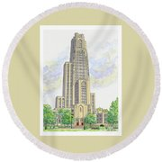 Cathedral Of Learning Round Beach Towel by Val Miller