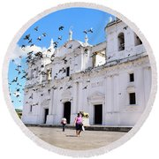 Round Beach Towel featuring the photograph Cathedral Of Leon by Nicole Lloyd