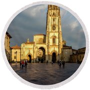 Cathedral Of Oviedo Round Beach Towel