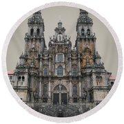 Cathedral Of Santiago De Compostela Round Beach Towel