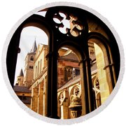 Cathedral Of Trier Window Round Beach Towel