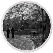 Cathedral Park In Fall Bw Round Beach Towel